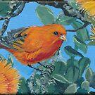 Tropical Hawaiian Bird: 'Akepa with Orange Ohia by Wendy Roberts