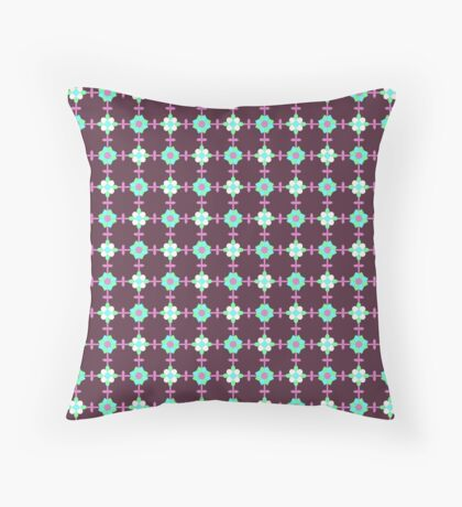 Robins Egg Blue, White and Pink on Dark Red Geometric Flower Retro Pattern Throw Pillow