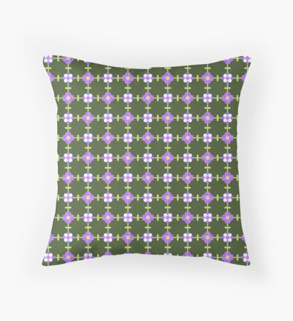 Ultra Violet, Pink and White on Forest Green Geometric Flower Retro Pattern Throw Pillow