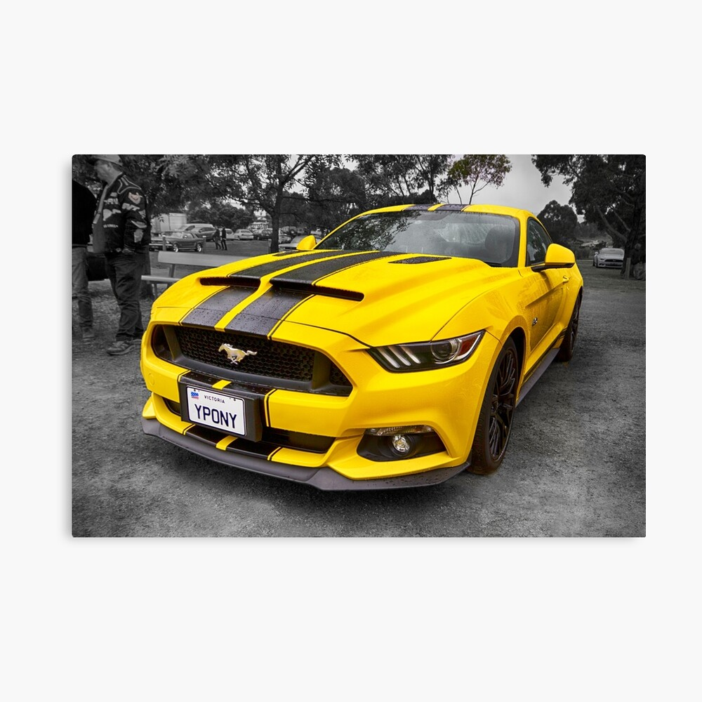 Yellow ford mustang canvas print