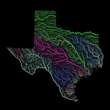River basins of Texas in rainbow colours by GrasshopperGeo