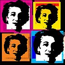 ENID BLYTON, ENGLISH CHILDRENS NOVELIST - POP ART STYLE 4UP COLLAGE ILLUSTRATION by Clifford Hayes