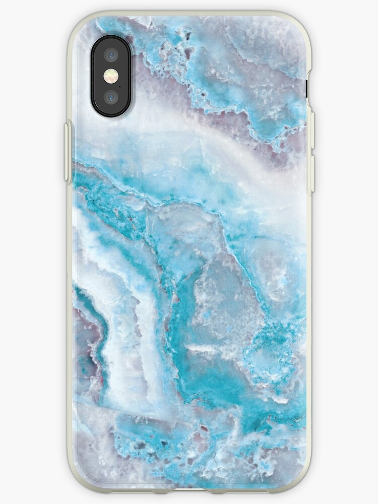 the latest 3fe72 ed9fa 'Luxury Mermaid Blue Agate Marble Geode Gem' iPhone Case by MysticMarble