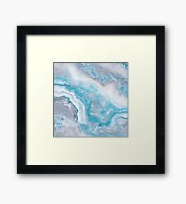Lámina enmarcada Gema de gema de lujo de sirena azul mármol ágata