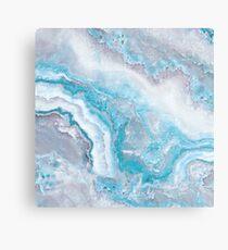 Luxury Mermaid Blue Agate Marble Geode Gem Metal Print