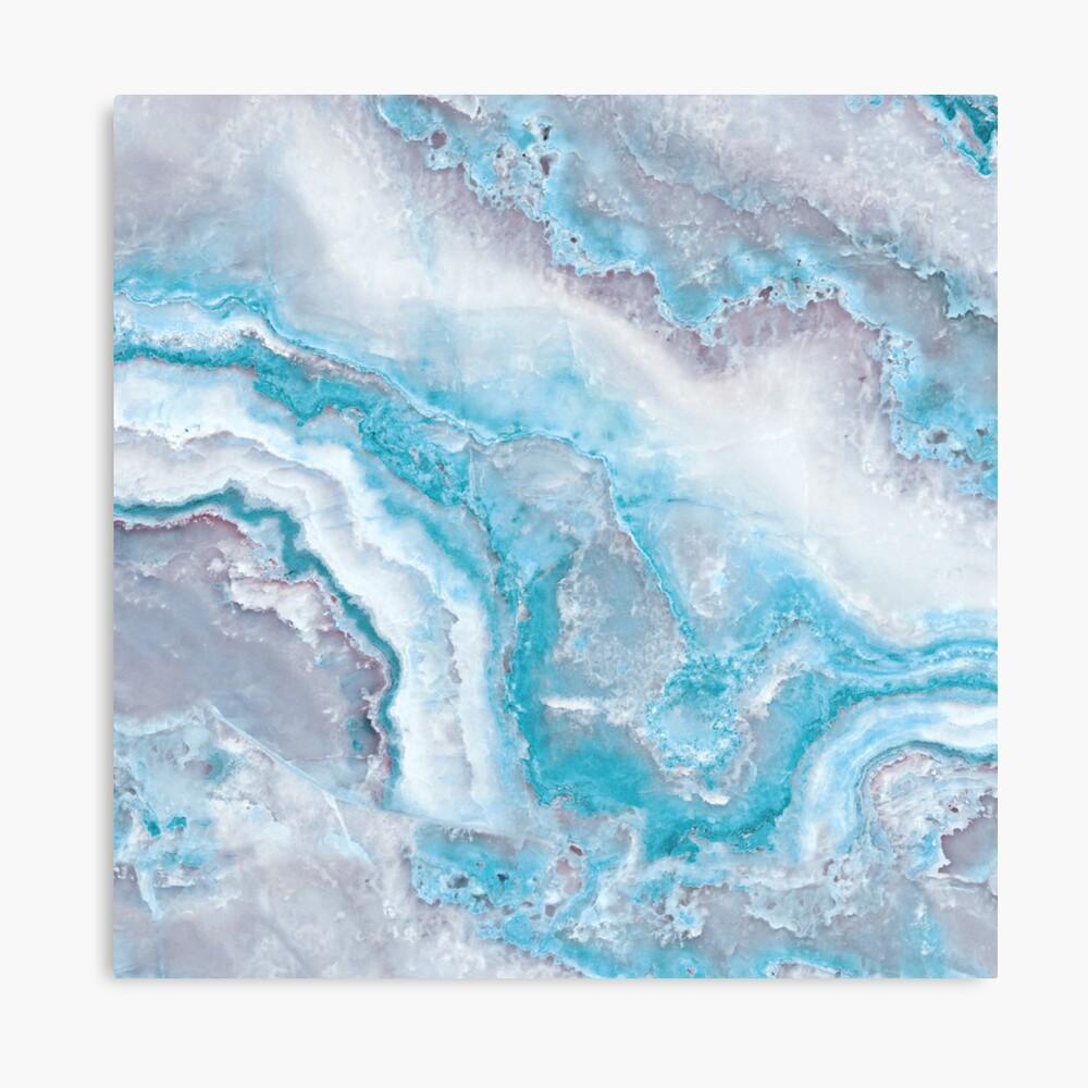 Luxury Mermaid Blue Agate Marble Geode Gem Canvas Print