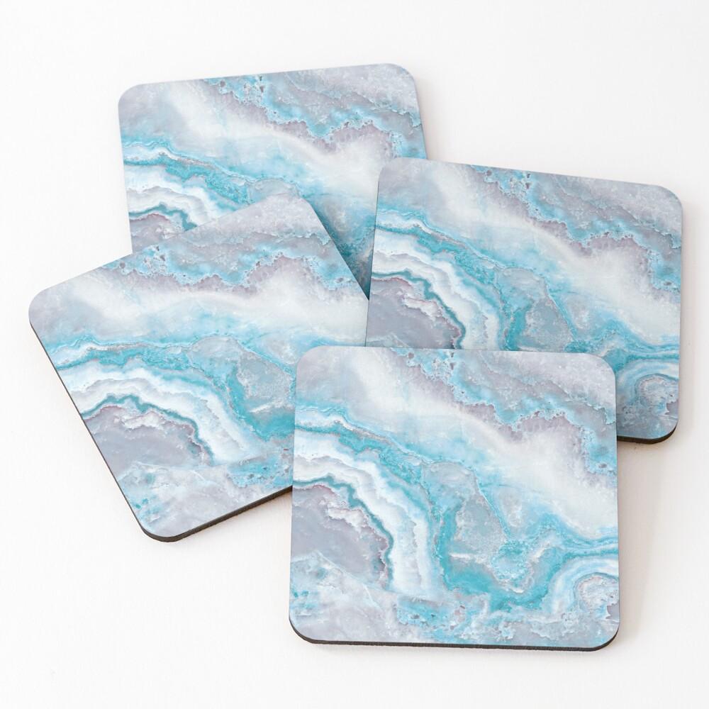 Luxury Mermaid Blue Agate Marble Geode Gem Coasters (Set of 4)
