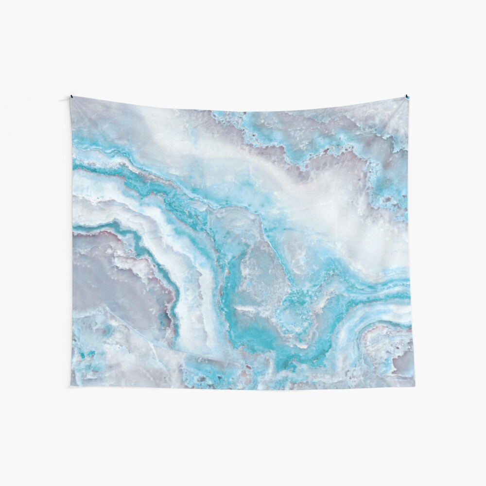 Luxury Mermaid Blue Agate Marble Geode Gem Wall Tapestry