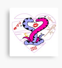 Snake couple love position Gift valentine day Canvas Print
