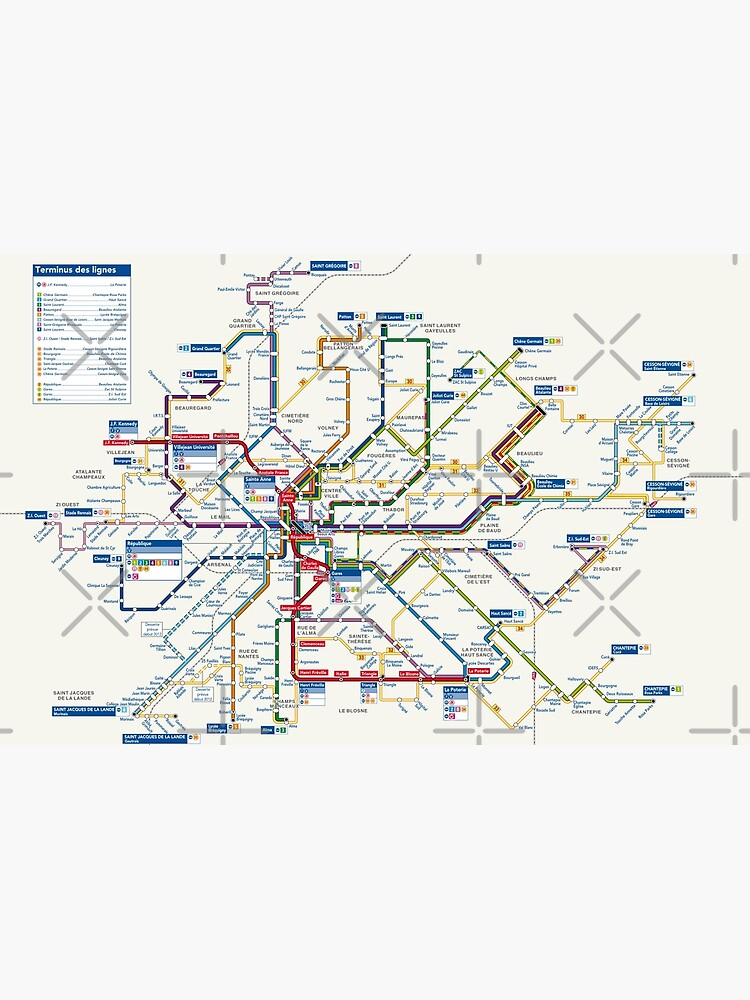 Map Of France To Print.Rennes Metro Map France Canvas Print