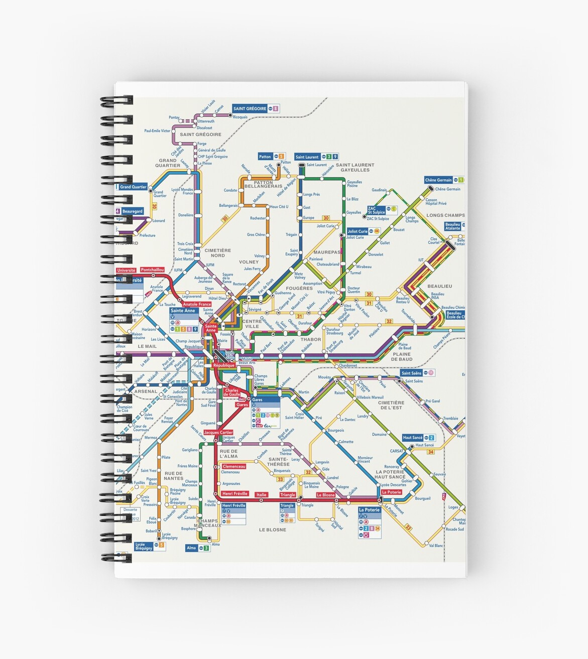 Rennes Metro Map France Spiral Notebooks By Superfunky Redbubble