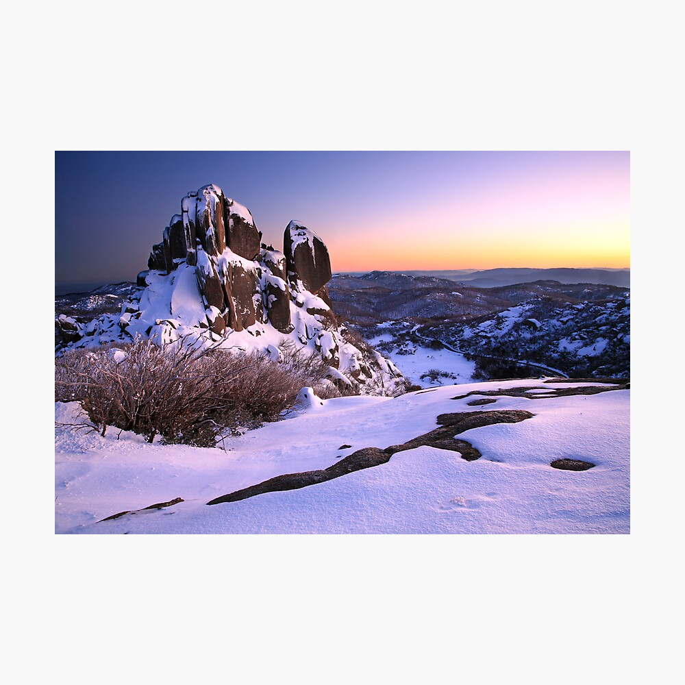 A crystal clear winter dawn, The Cathedral, Mt Buffalo, Australia Photographic Print