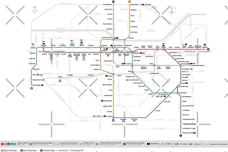 Santiago Subway Map.Santiago Metro Map Chile Art Print
