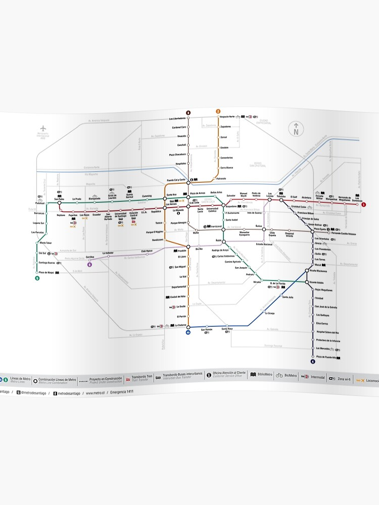 Santiago Subway Map.Santiago Metro Map Chile Poster