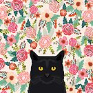 Black Cat cat breed floral pattern background pet gifts cats kitten mom gifts by PetFriendly