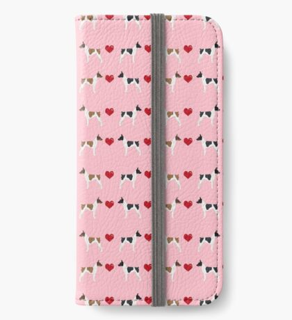 Rat Terrier love hearts dog breed pet art dog pattern gifts unique pure breed iPhone Wallet
