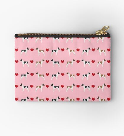 Rat Terrier love hearts dog breed pet art dog pattern gifts unique pure breed Zipper Pouch