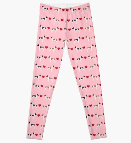 Rat Terrier love hearts dog breed pet art dog pattern gifts unique pure breed Leggings