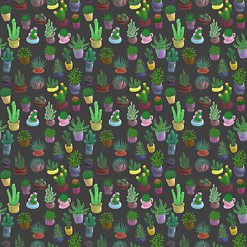 Succulents and Cacti grey by Bantambb