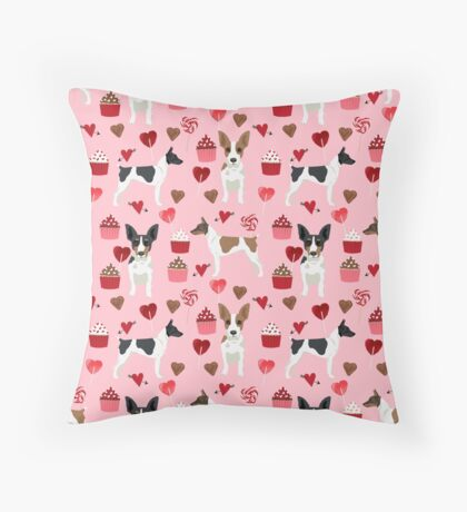 Rat Terrier valentines day cupcakes love hearts dog breed pet art dog pattern gifts unique pure breed Throw Pillow