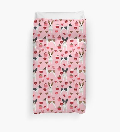 Rat Terrier valentines day cupcakes love hearts dog breed pet art dog pattern gifts unique pure breed Duvet Cover