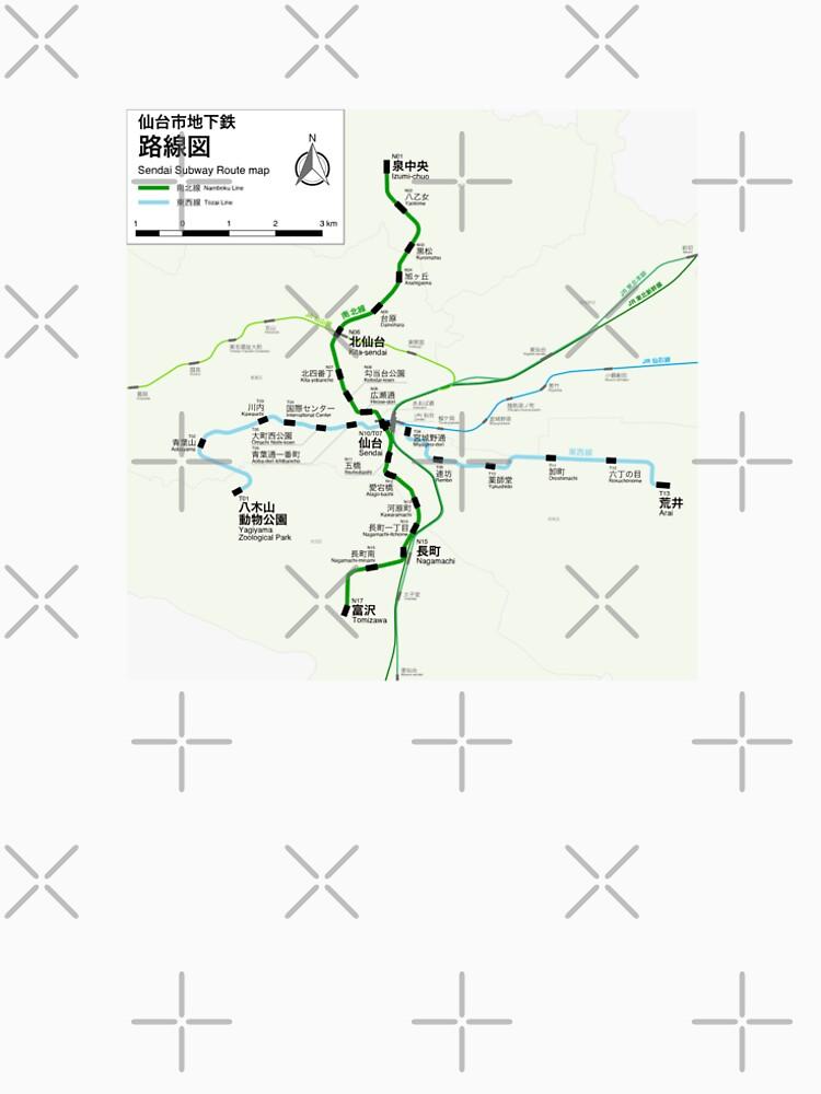 Sendai Subway Map Japan Mens Premium TShirt by superfunky