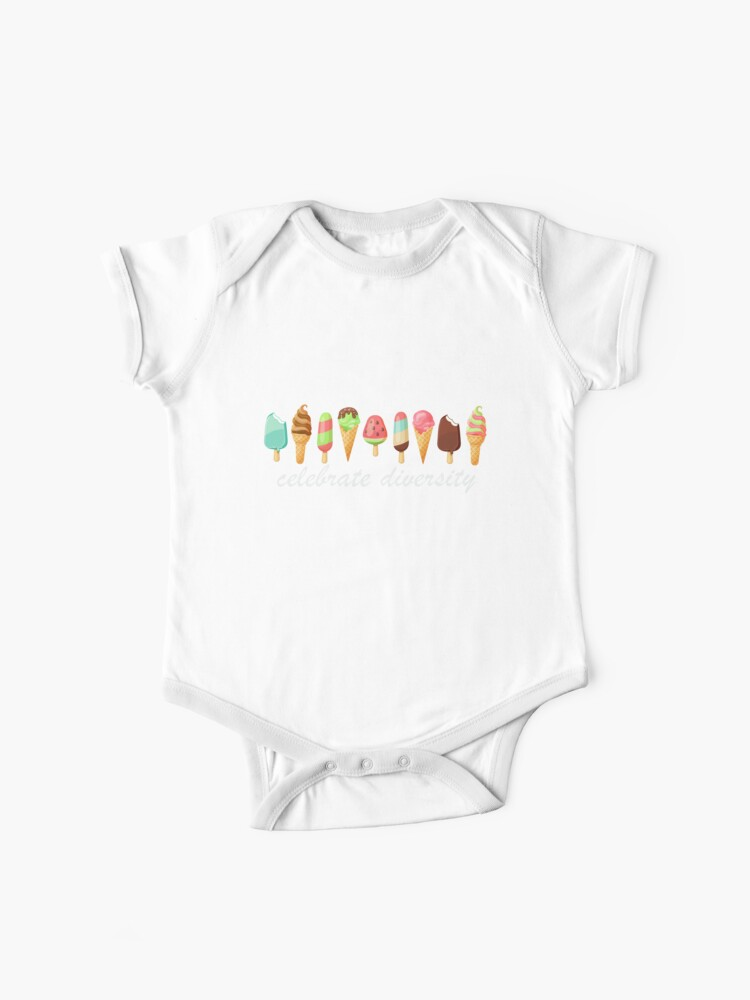 Celebrate diversity ice pops / ice cream / frozen joghurt funny quote /  funny saying | Baby One-Piece