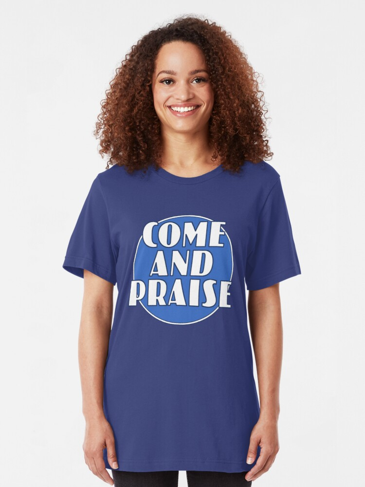 Alternate view of Come And Praise, 1980s school hymn book cover Slim Fit T-Shirt