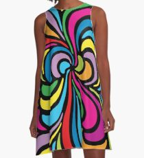 Psychedelic Hippie Abstract Swirl Pattern A-Line Dress