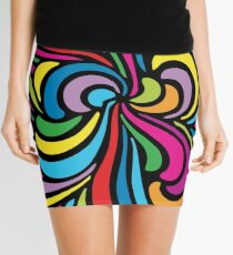 Psychedelic Hippie Abstract Swirl Pattern Mini Skirt