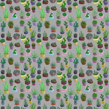 Succulents and Cacti light grey by Bantambb