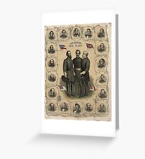 AMERICAN CIVIL WAR, Confederate Heroes and Flags Poster 1896 Greeting Card