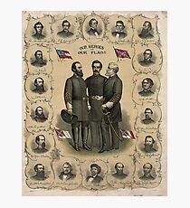 AMERICAN CIVIL WAR, Confederate Heroes and Flags Poster 1896 Photographic Print