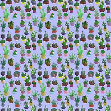 Succulents and Cacti blue by Bantambb