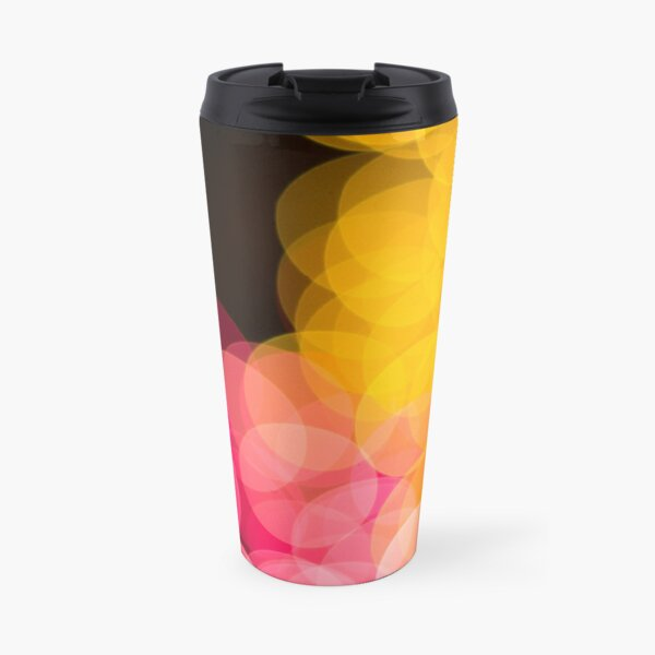 Bokeh abstract pink yellow circles Travel Mug