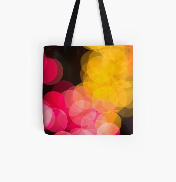 Bokeh abstract pink yellow circles All Over Print Tote Bag