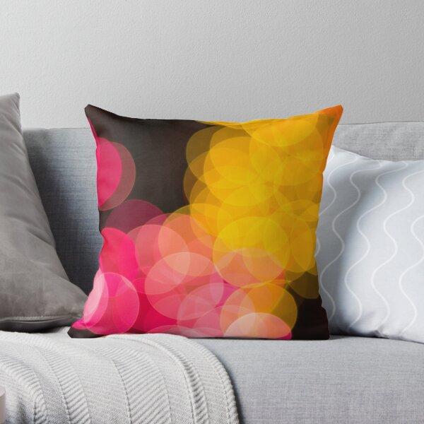 Bokeh abstract pink yellow circles Throw Pillow
