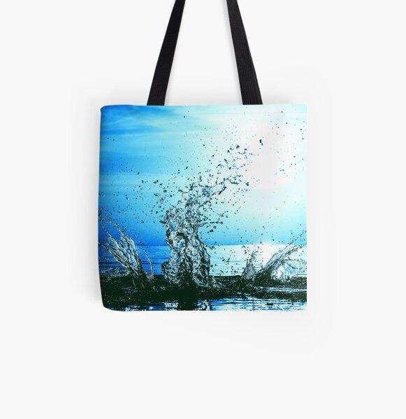 Blue water splash All Over Print Tote Bag