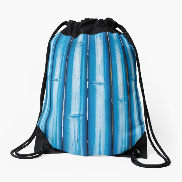 Blue bamboo canes background Drawstring Bag