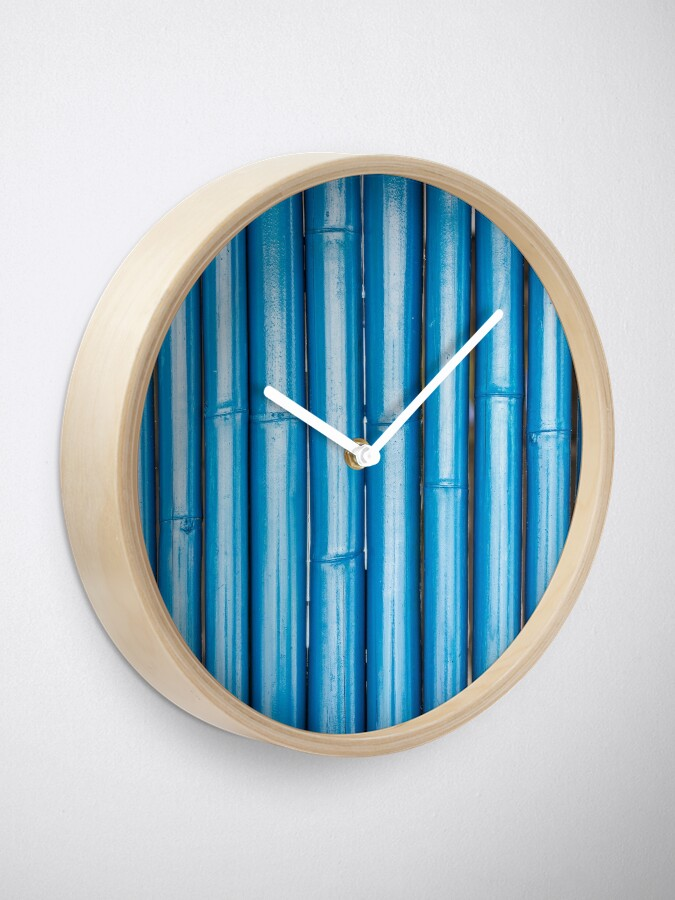 Alternate view of Blue bamboo canes background Clock