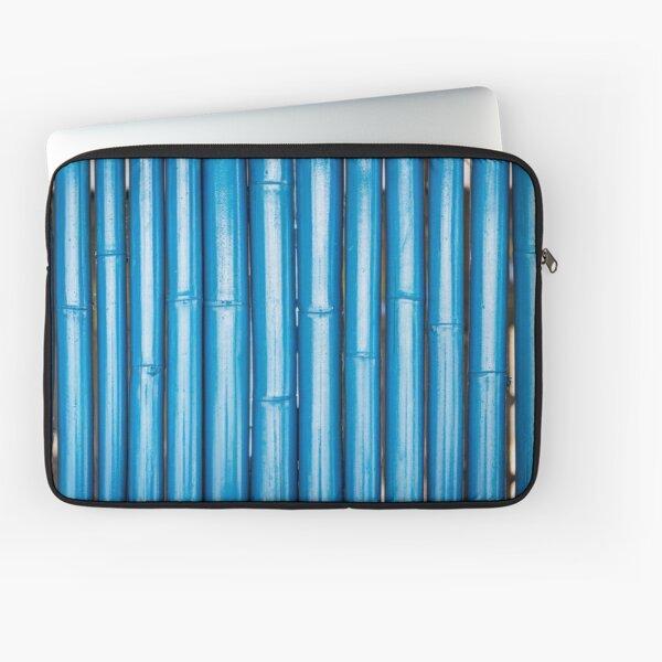 Blue bamboo canes background Laptop Sleeve