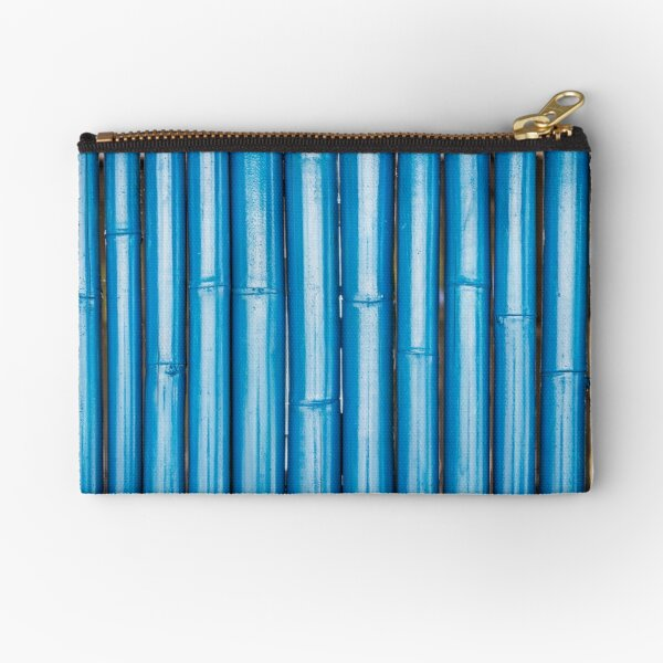 Blue bamboo canes background Zipper Pouch