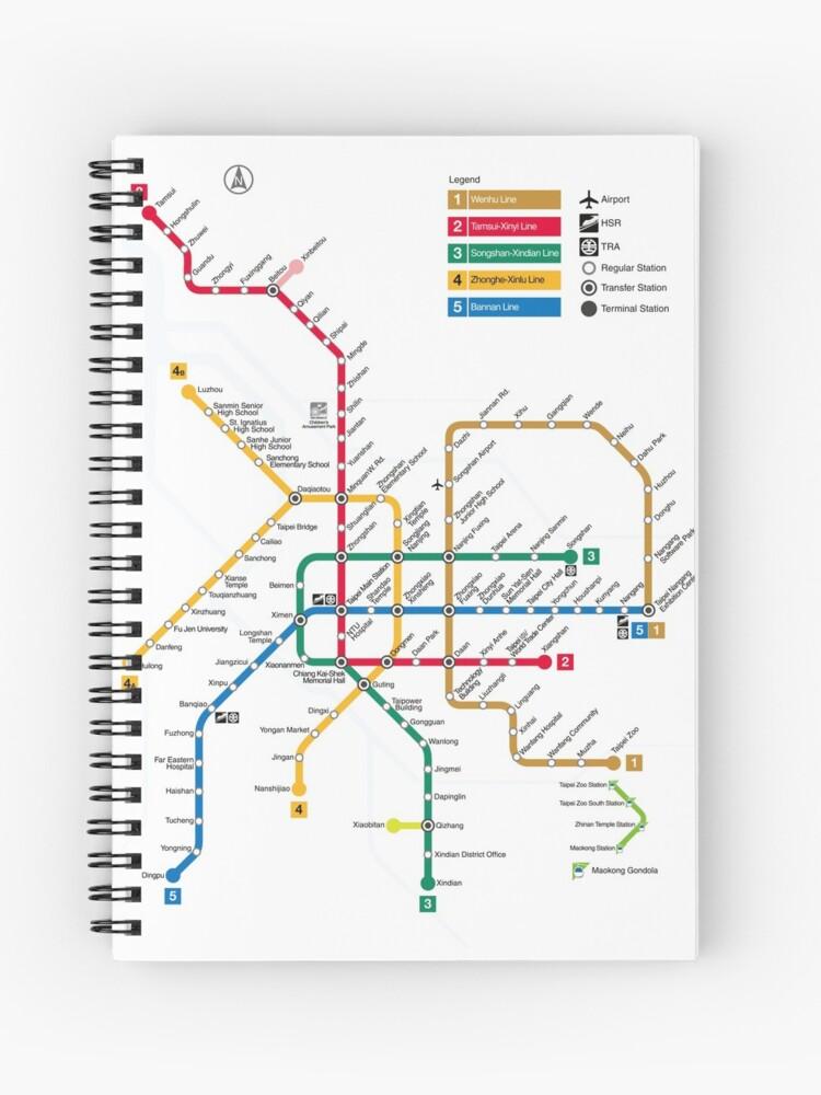 Subway Map Taipei.Taipei Metro Map Taiwan Spiral Notebook