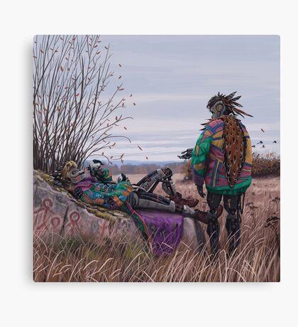 Vagabonds - The Magpie Charmer And Bub Canvas Print
