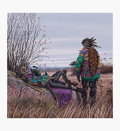 Vagabonds - The Magpie Charmer And Bub Photographic Print