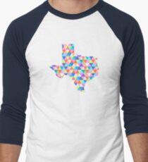 Texas Geometric Colorful Triangles Hipster Texas Men's Baseball ¾ T-Shirt