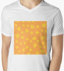 Yellow Bee Seamless Pattern on Orange Background Men's V-Neck T-Shirt