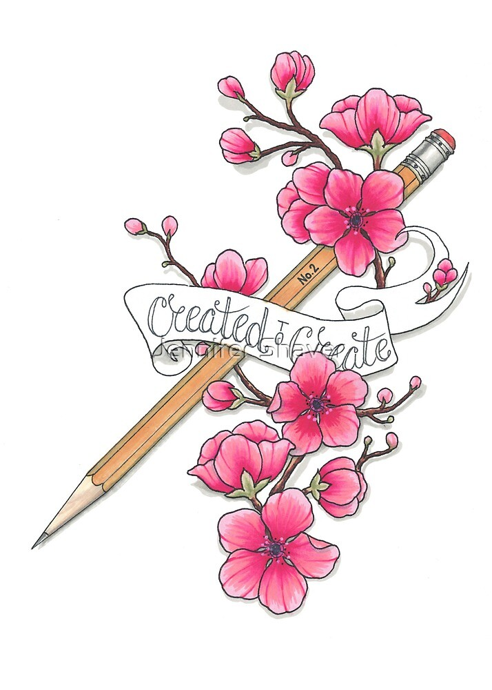 Created To Create Cherry Blossom Tattoo Style Drawing By Jennifer