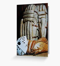 Vintage Hockey Goalie Equipment Greeting Card