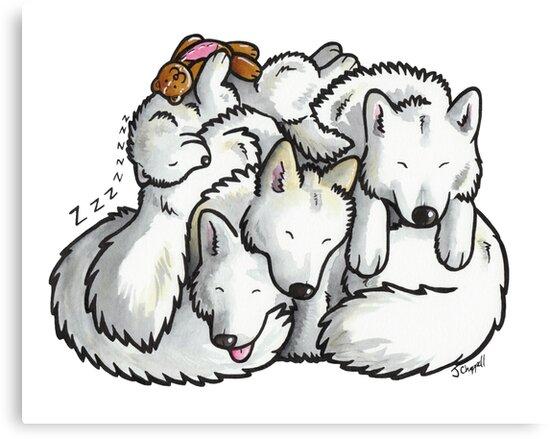 Samoyed - sleeping pile cartoon by animalartbyjess